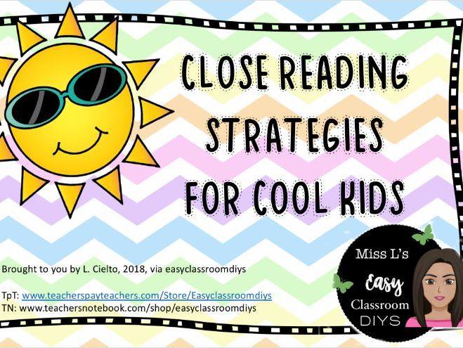 Close Reading Strategies Wall Chart