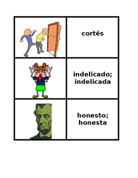 Adjetivos (Portuguese Adjectives) Concentration games