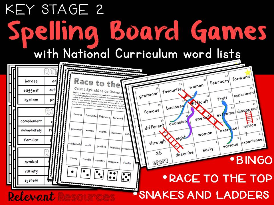 Spelling Board Games-Key Stage Two
