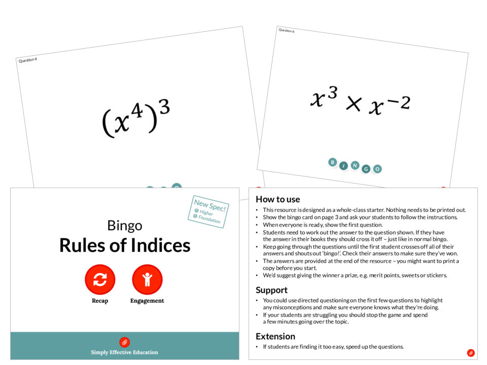 Rules of Indices (Bingo)