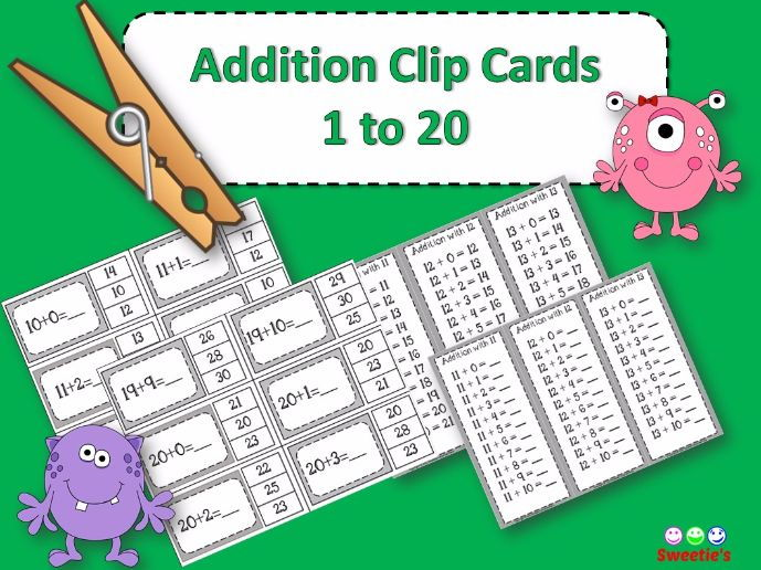 Addition Facts 1 to 20 Clip Cards - Monsters