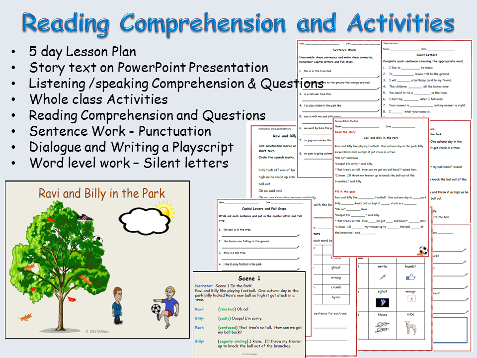 Reading Comprehension, Sentence/Word work, Creative writing, Role play- PowerPoint - Lessons 1 to 5)