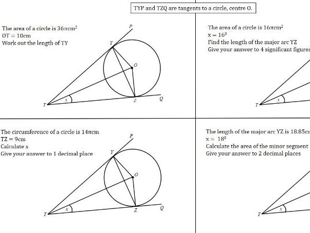 SSDD with  Circle Theorems as the surface: 'different deep' inc. Pythagoras, Trig, Area & Arc Length