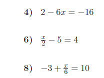 3 Worksheets on linear equations (one-step, two-step and with brackets) with solutions