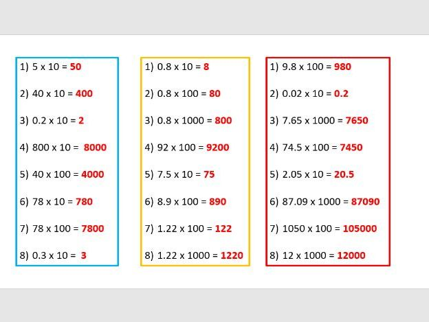 Multiply numbers by 10, 100 and 1000