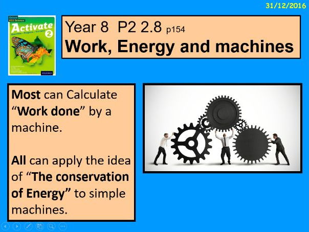 """A digital version of the Year 8 P2 2.8 """"Work, Energy and Machines"""" lesson."""