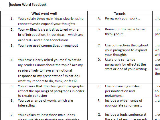Feedback WWW and Targets for writing or speaking and listening
