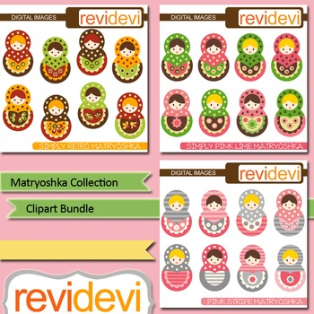 Russian nesting dolls clip art - Matryoshka bundle (3 packs)