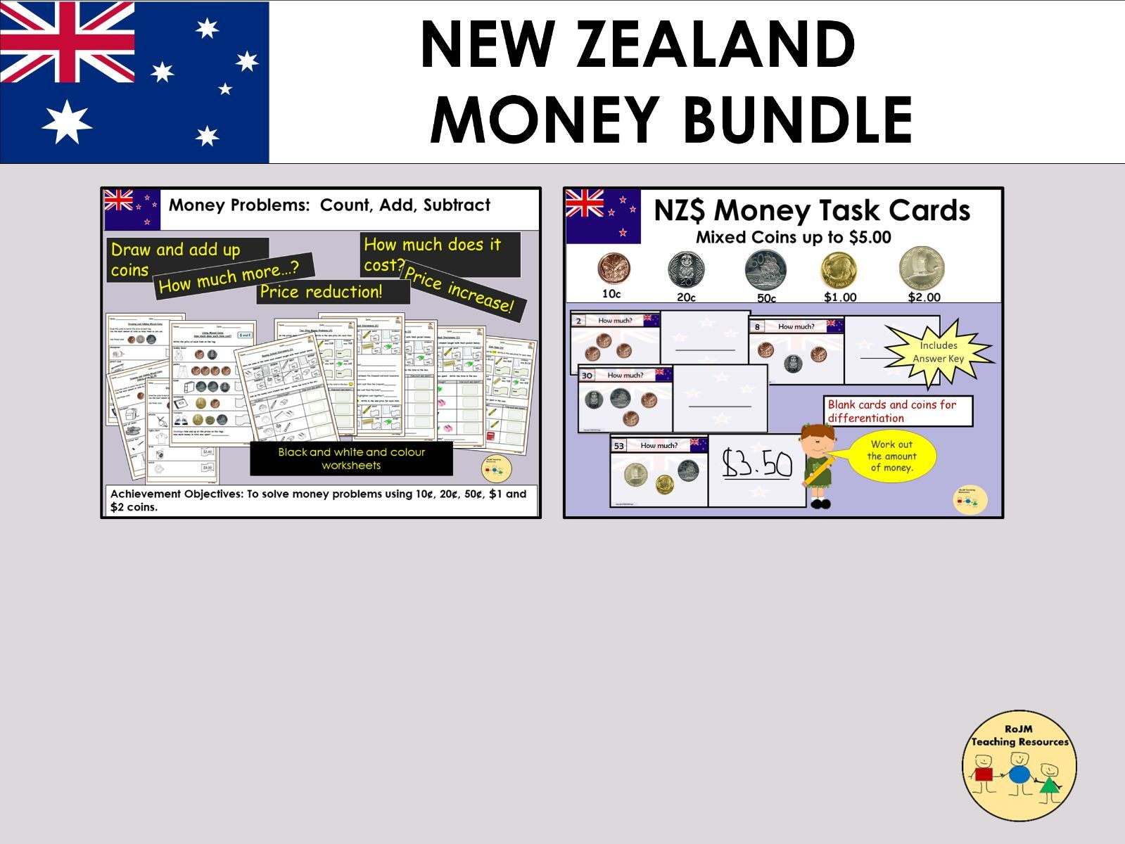 New Zealand Money Worksheets Task Cards Bundle