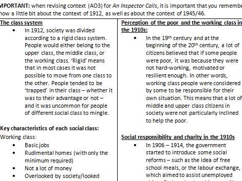 an inspector calls tell about the class system essay An inspector calls essay about in almost an end to the social class system in 1945 inspector calls was set in 1912 to represent the.