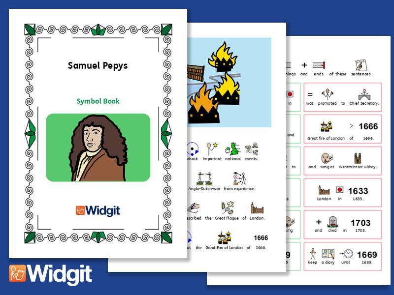 Samuel Pepys - Books and Activities with Widgit Symbols
