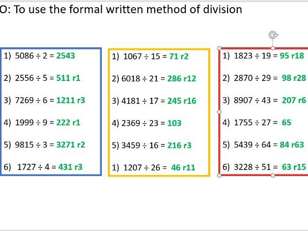 Long division year 6 (4 lessons)