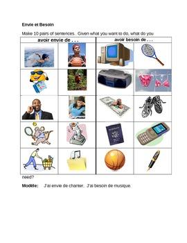 Envie et Besoin French Worksheet
