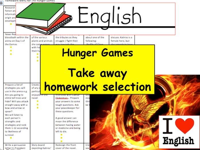 The Hunger Games Take away Menu of ideas for Homework. English Fiction Writing Homework