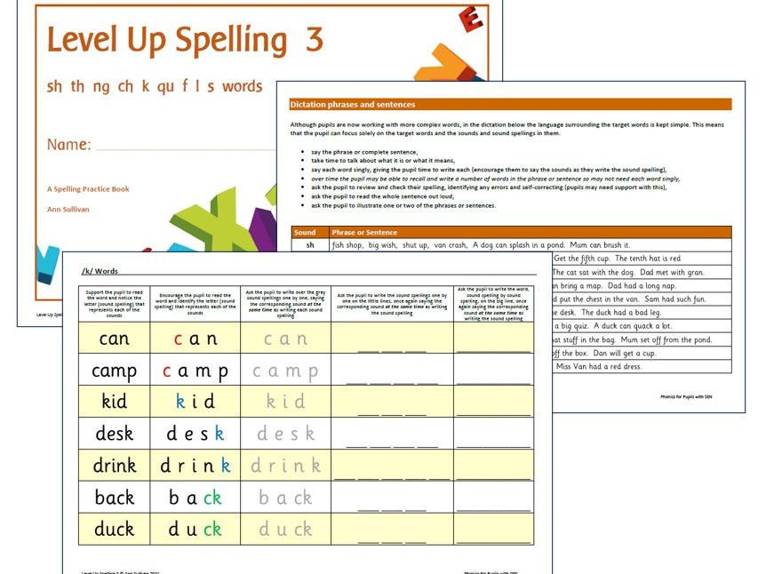 Level Up Spelling 3 - Practice Booklet - Sounds: sh th ng ch k qu f l s - Phonics for SEN