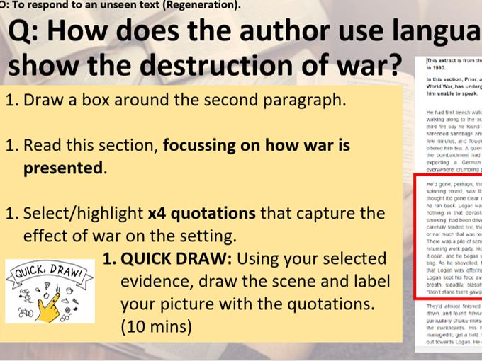 Unseen fiction lesson on Baker's Regeneration for KS3. Evaluative Statement prep.