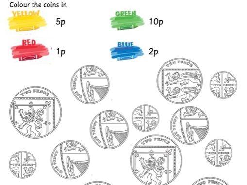 Money colour matching sheet GBP  EYFS/ Year 1
