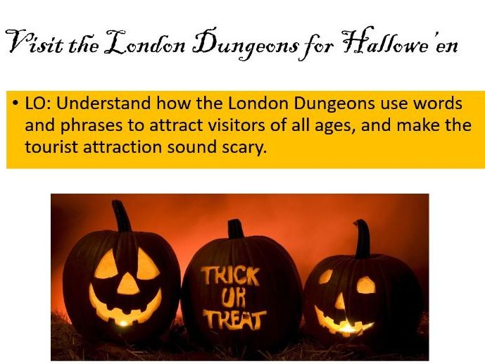 Hallowe'en London Dungeon article KS3 KS2