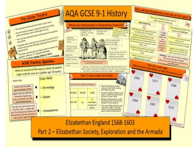 AQA GCSE 9-1 History Elizabethan England 1568-1603 Part 2: Elizabethan Society, Exploration and the Spanish Armada