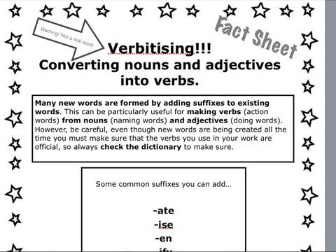 Converting nouns and adjectives into verbs