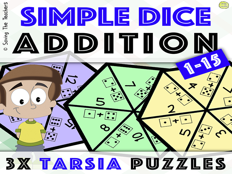 Tarsia Puzzle Activity: Dice Addition - Numbers 1 - 15