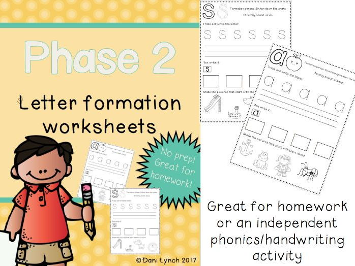 Phase 2 Phonics Letter Formation Worksheets