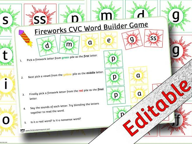 Phonics/ Letters and Sounds Phase 2 Fireworks CVC Word Builder Game/Activity - Editable