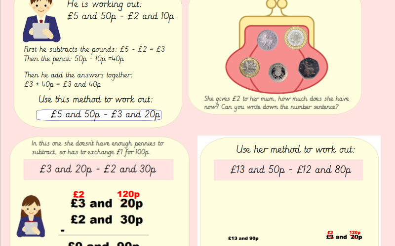 Year 3 Subtracting Money (Linked to the White Rose Scheme)
