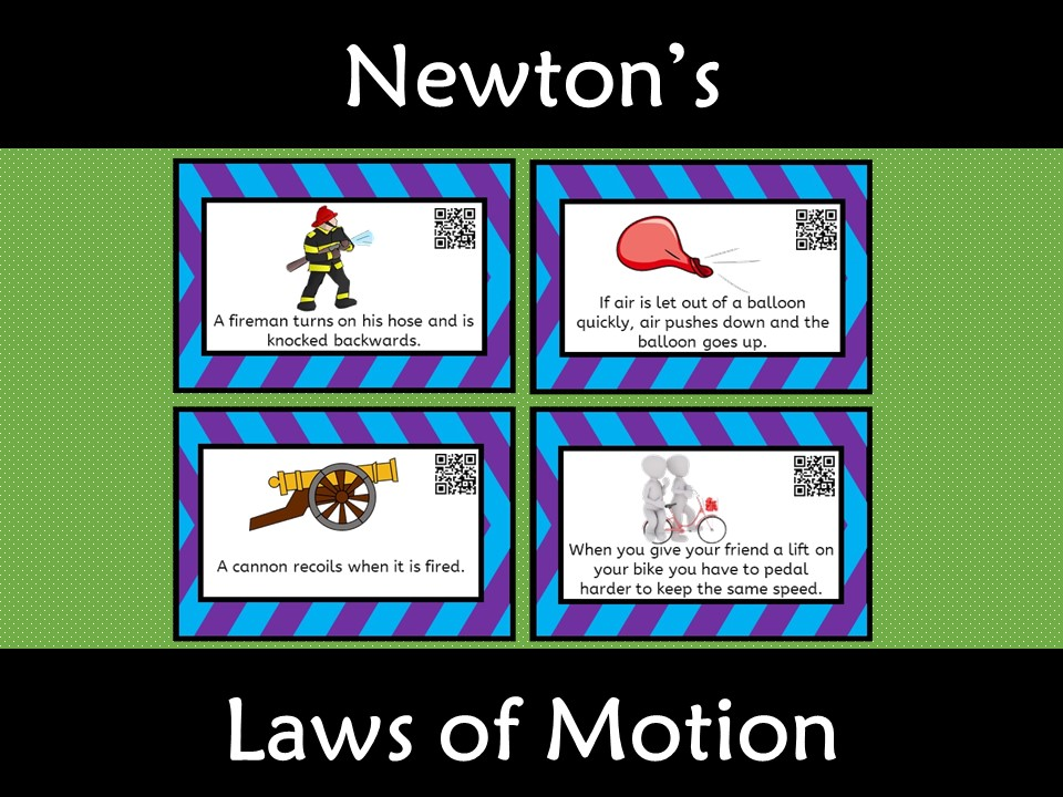 Newton's Laws of Motion Card Sort with QR code
