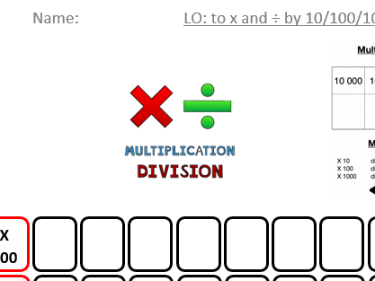 Times table practice and multiplying/dividing by 10/100/1000