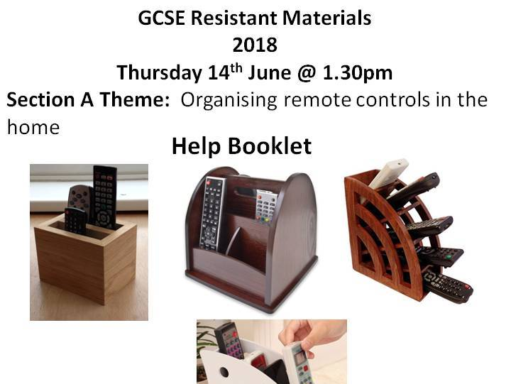 AQA 2018 Resistant Materials Exam Section A: Organising remote controls in the home