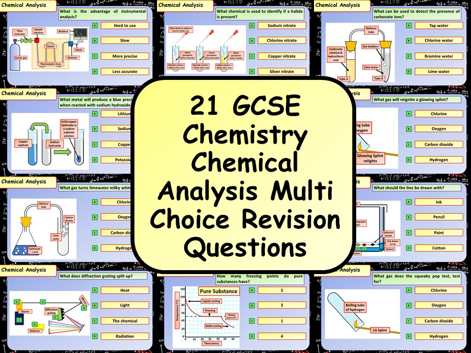£1 ONLY! KS4 AQA GCSE Chemistry (Science) Chemical Analysis Multiple Choice Revision Questions