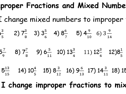 mixed numbers and improper fractions by nextweeksorted  teaching  mixed numbers and improper fractions by nextweeksorted  teaching resources   tes