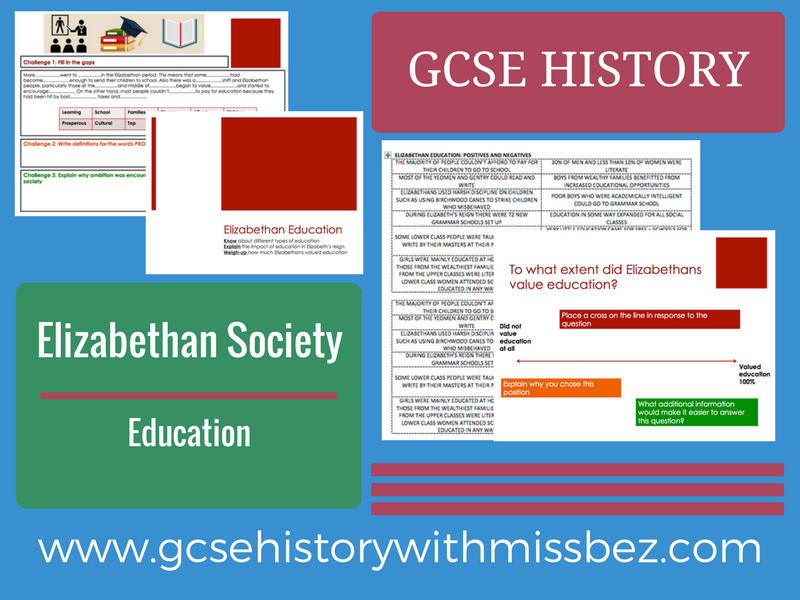 GCSE HISTORY: ELIZABETH I: Elizabethan Society: Education (all exam boards)