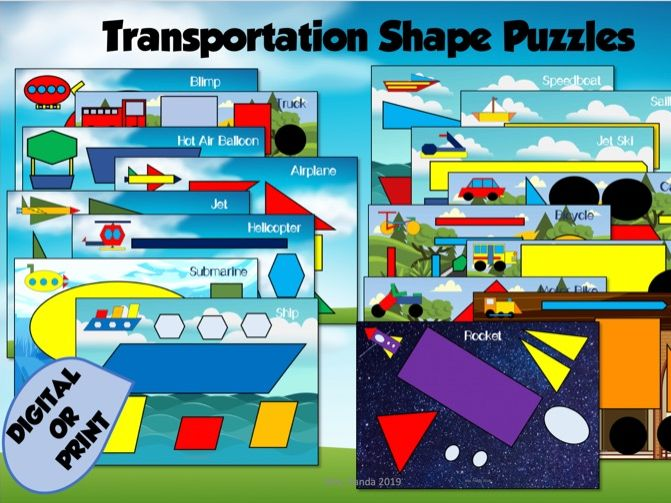 Transportation Shape Puzzles and Worksheet - Digital and Print