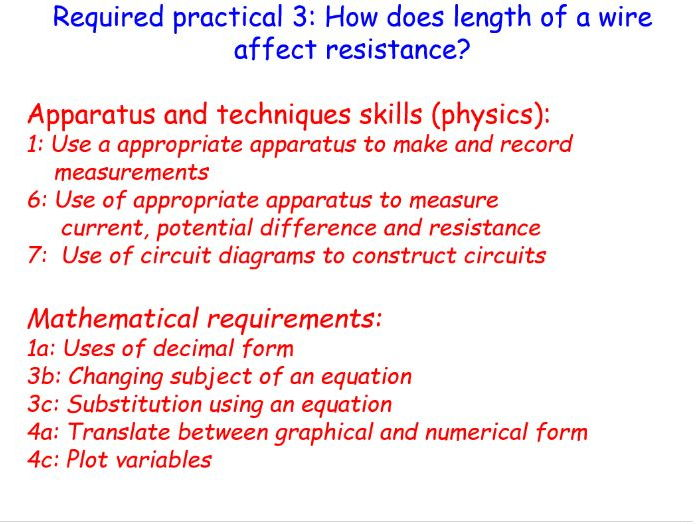 New AQA GCSE physics required practical : Length of wire and resistance