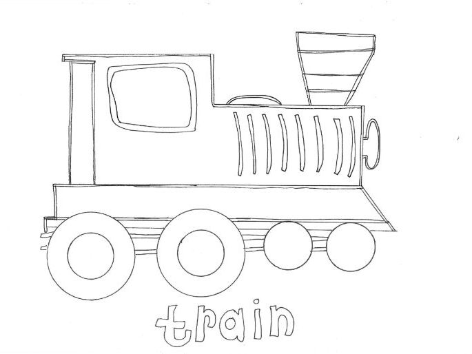 Train: Transport and Travel: Colouring Page