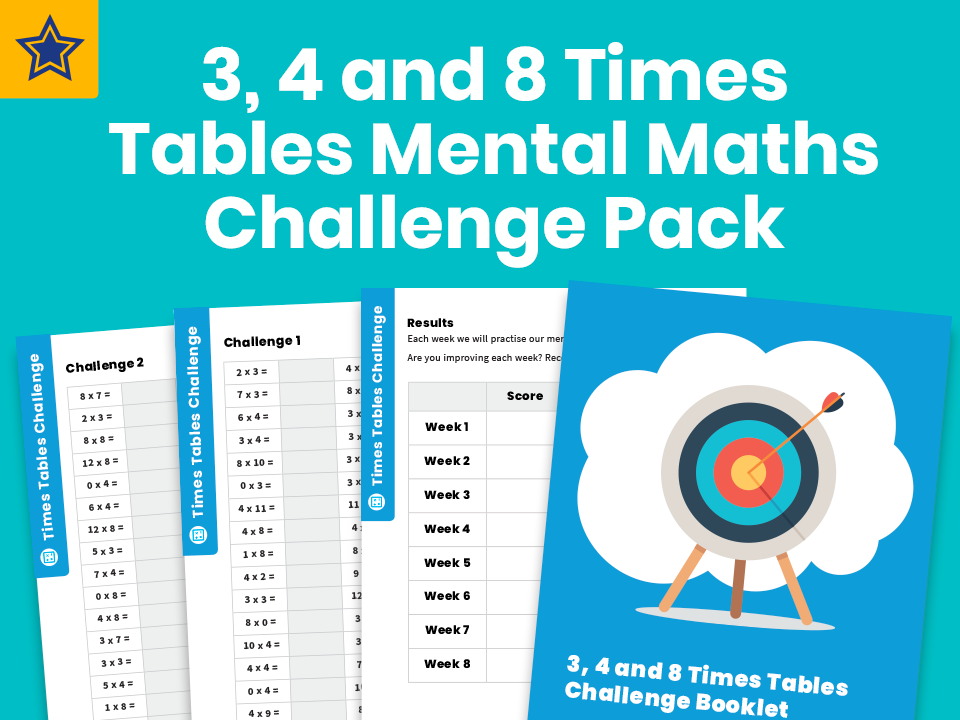 3, 4 and 8 Times Tables Mental Maths Challenge Pack