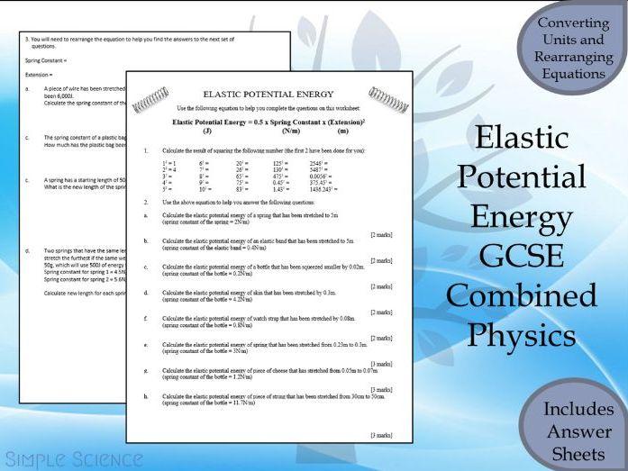 GCSE Physics Paper 1  - Elastic Potential Energy Calculation Worksheet