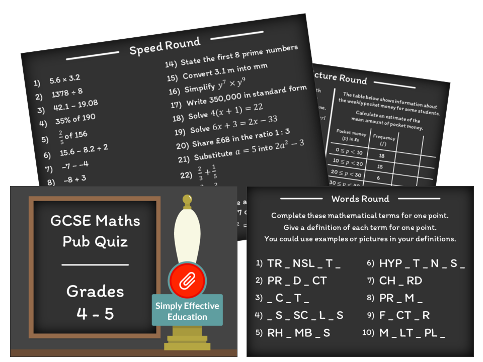 GCSE Maths Pub Quiz (Grades 4-5)