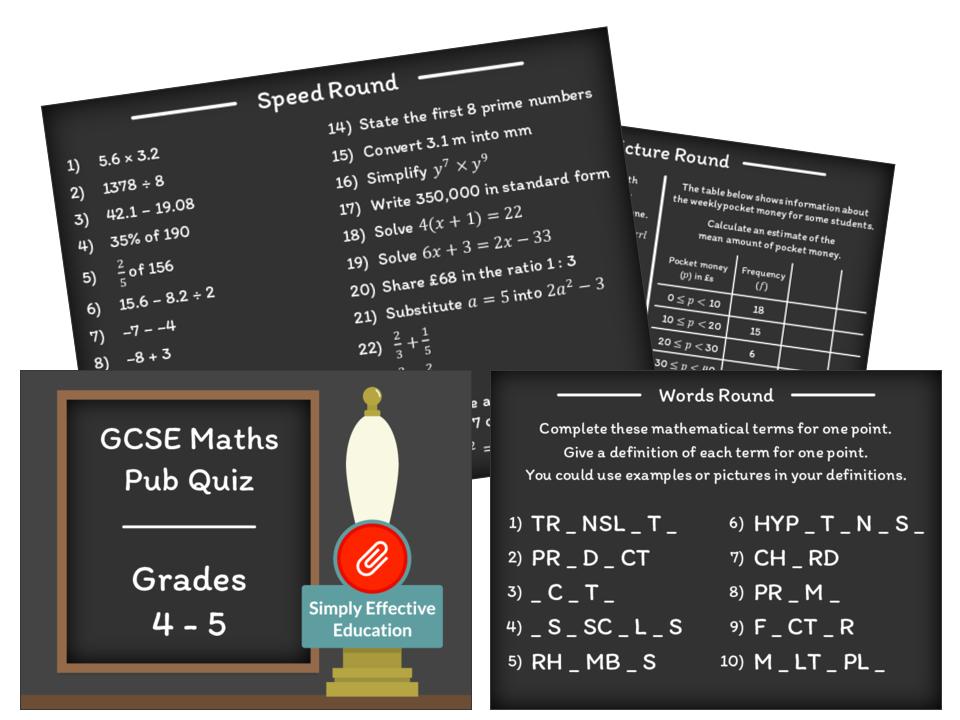 GCSE Maths Pub Quiz (Grades 4-5)