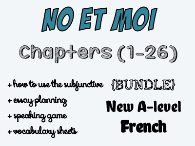 NO et MOI - Etude des chapitres 1 à 26 + speaking game, essay planing and how to use subjunctive in an essay offered