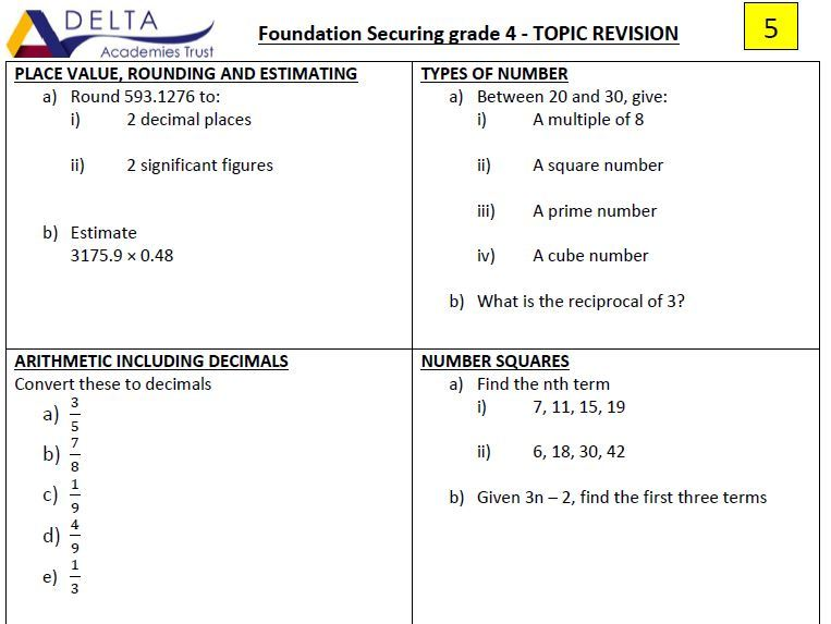 Securing a Grade 4 Revision Booklets