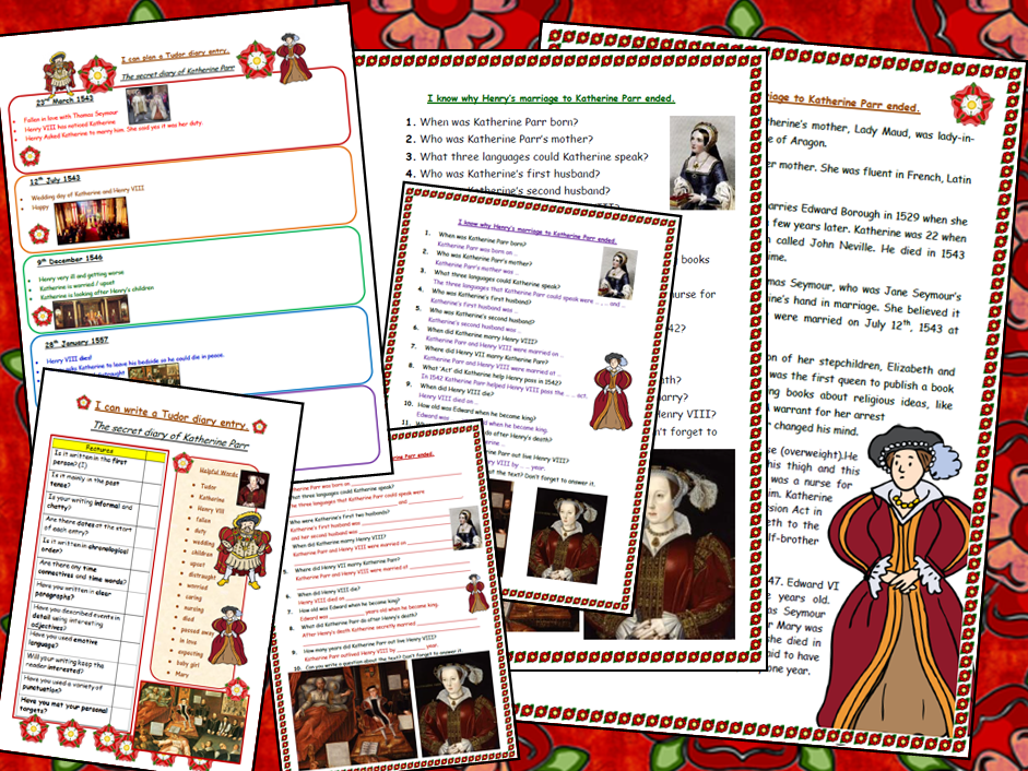 Henry VIII and Katherine Parr Double activity Tudors comprehension and diary writing