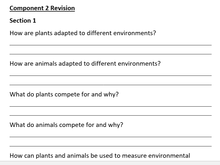 New Spec AQA Science ELC Component 2 Revision