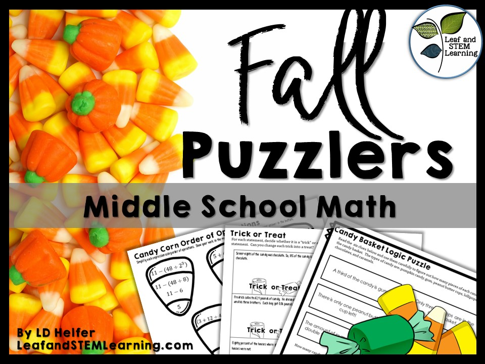 Halloween Math Puzzles for Middle School