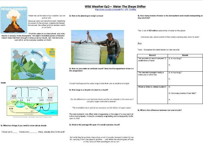 Richard Hammond -Wild Weather - Ep2 - Water: The Shape Shifter - Worksheet