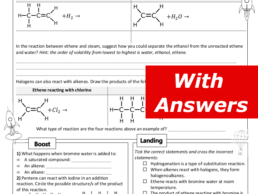 Reactions of Alkenes Home Learning Worksheet GCSE
