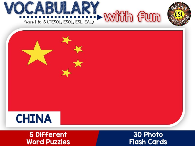 China - Country Symbols: 5 Different Word Puzzles and 30 Photo Flash Cards (IGCSE ESL, TESOL, ESOL)