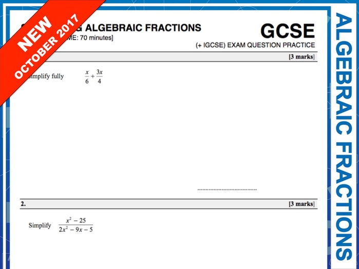 GCSE 9-1 Exam Question Practice (Simplifying Algebraic Fractions)